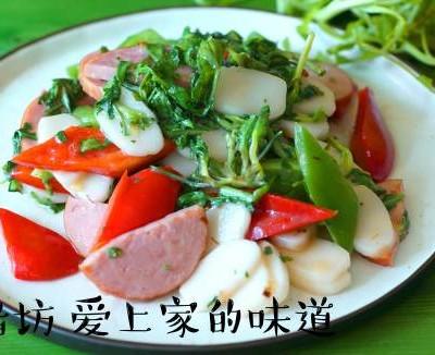 荠菜火腿炒年糕