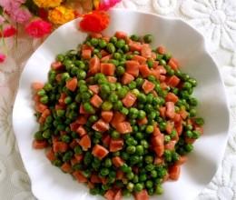 青豆炒烤肠