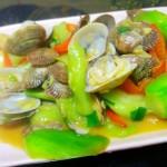彩椒丝瓜炒花蛤