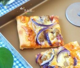 洋葱牛肉粒披萨