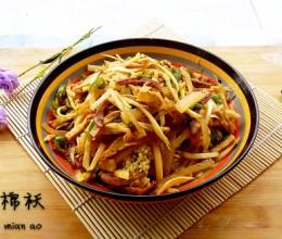 丁香鱼炒茭白丝花菜