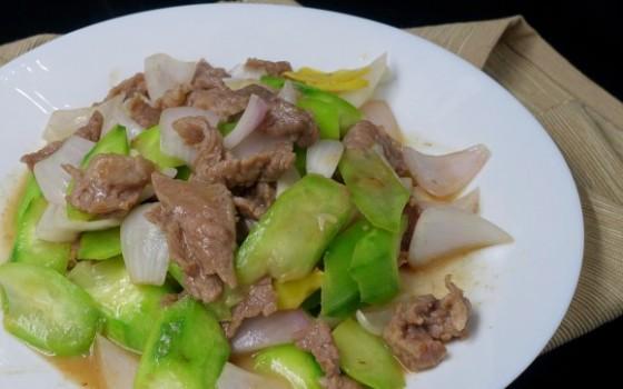 洋葱丝瓜炒牦牛肉