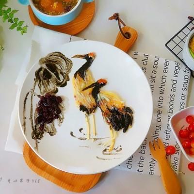 國畫風趣味餐盤畫