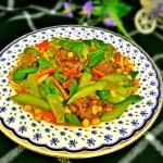 丝瓜玉米粒炒牛肉