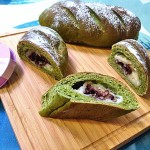 抹茶红豆麻薯面包
