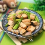 芦笋炒三文鱼