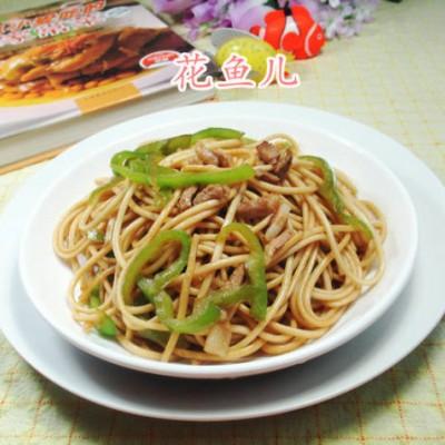 肉丝尖椒炒面