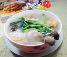 鸡毛菜香菇鸡腿泡饭