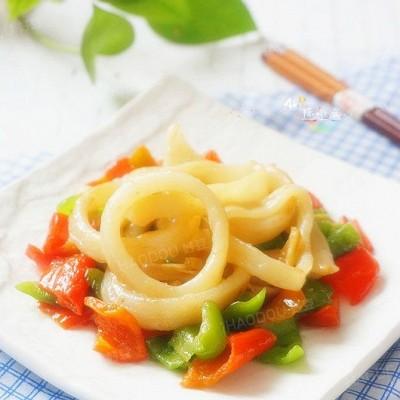 柿子椒炒鱿鱼圈
