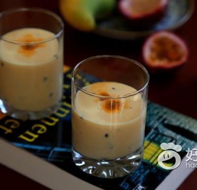 百香果芒果牛奶饮