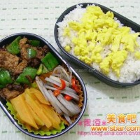 爱心盒饭160:青椒豆豉肉片+酸辣藕片+煮红薯+煎蛋