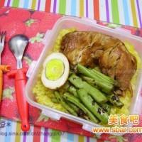 爱心盒饭157:卤鸡腿+卤蛋+芽菜无茎豆+香芋南瓜饭