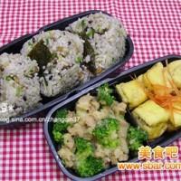 爱心盒饭145:酿豆腐+西兰花土豆沙拉+牛蒡杂粮饭团