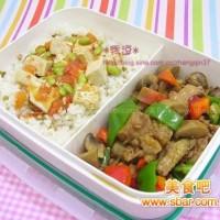 爱心盒饭134:蘑菇烧鸡+番茄烩豆腐