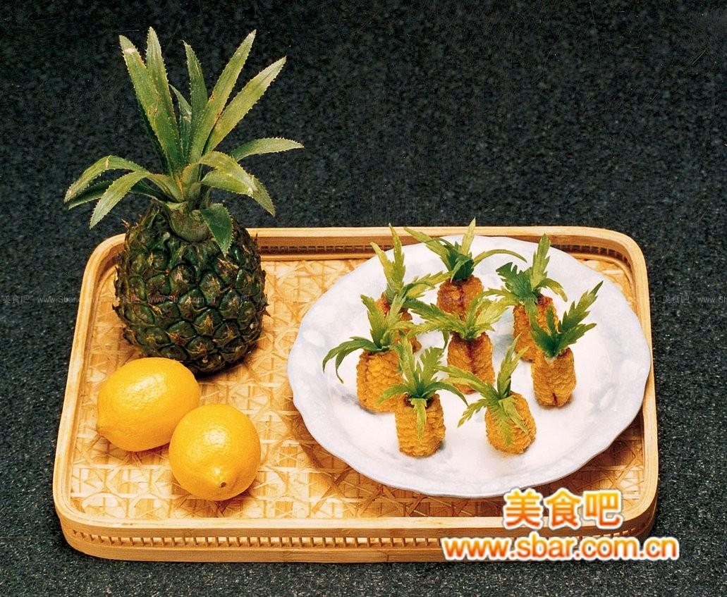 中式创新菜之:菠萝鱼卷的做法图片