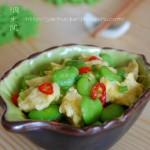 蚕豆米炒鸡蛋(素菜)