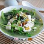 白苋菜豆腐滚双蛋(素菜)