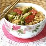 豆角香肠焖饭(早餐菜谱)