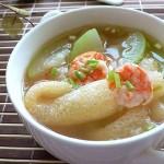 虾子竹荪瓠瓜汤(素菜)