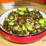 毛豆炒雪菜(素菜)