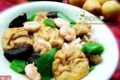 虾仁青椒油面筋