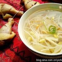 冬腌菜豆芽笋片汤
