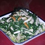 翡翠蘑菇肉丝(荤素搭配-荠菜储存)