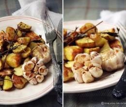 如何烤大蒜和小土豆
