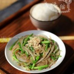 青蒜豆芽炒粉条(素菜)