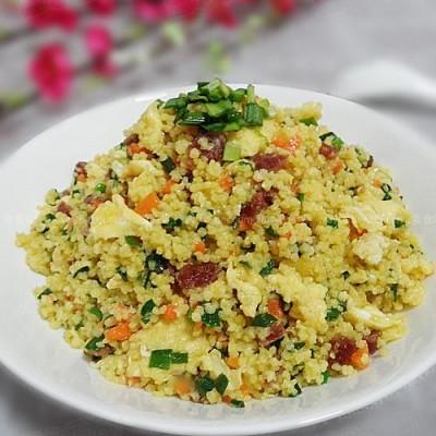 山西风味腊肠韭菜炒小米饭