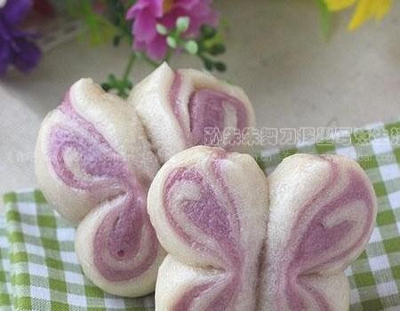 紫薯双色蝴蝶卷(早餐菜谱)