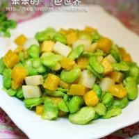 马蹄南瓜炒蚕豆