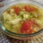 番茄榨菜毛豆子蛋汤(素菜)