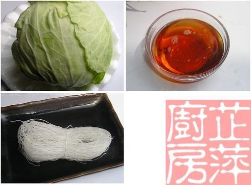 虾油炒粉丝卷心菜