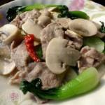 蘑菇肉片冬笋青菜(荤素搭配菜谱)