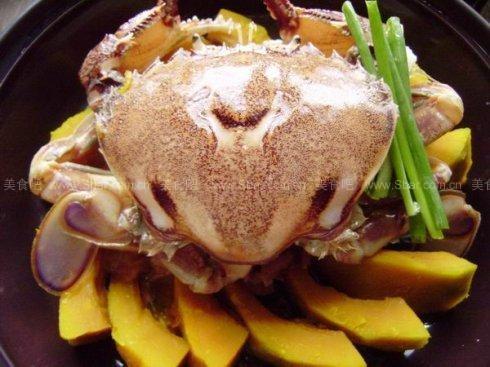 微波爐南瓜蒸蟹