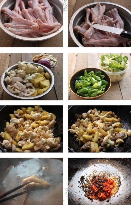 干锅荤菜(鸭掌菜谱)猪肚煲花旗参作用图片