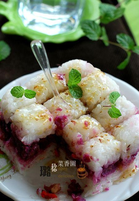 紫薯糯米凉糕的做法【图解】_紫薯糯米凉糕的家常做法
