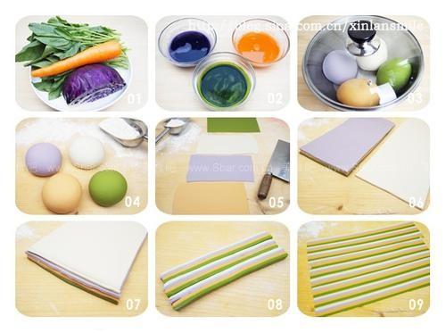 蝴蝶/1、菠菜一大把,胡萝卜一根,紫甘蓝1/4个洗净备用(图1)。