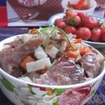 腊肉炒双丁(荤素搭配菜谱)