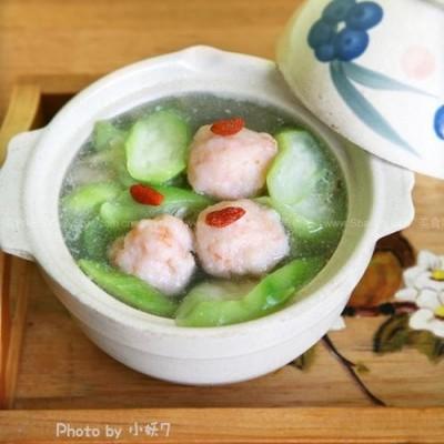 自制虾滑和虾滑丝瓜鲜汤