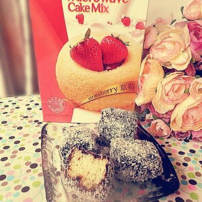 微波炉简易草莓味林明顿蛋糕