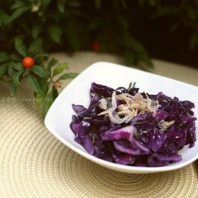 紫甘蓝炒虾皮