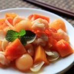木瓜百合炒虾球(夏日低脂水果菜)
