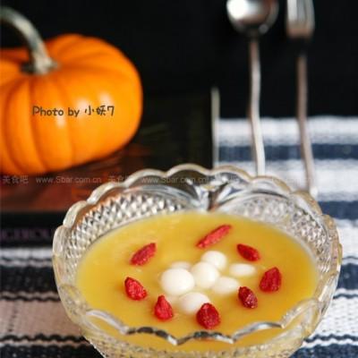 微波南瓜枸杞圆子汤