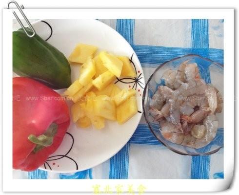 彩椒菠萝虾的做法