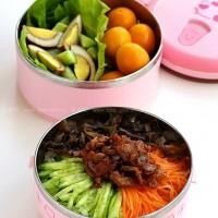 韩式拌饭 + 黄瓜卤蛋沙拉 + 小金橘