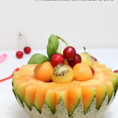 网纹瓜水果盅