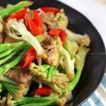 铁板肉片松花菜的做法