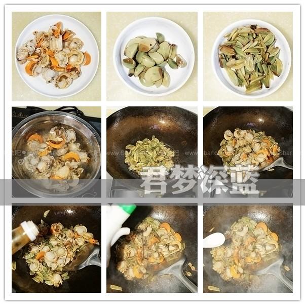 腊八蒜炒扇贝肉